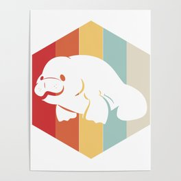 Manatee Retro Vintage Save The Floaty Potatoes design Gift Poster