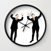 benedict cumberbatch Wall Clocks featuring Benedict Cumberbatch Oscar Photobomb by Zharaoh