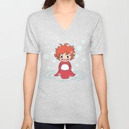 Kokeshi Ponyo Unisex V-Neck