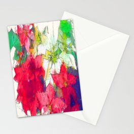 Mixed color Poinsettias 1 Serene Stationery Cards