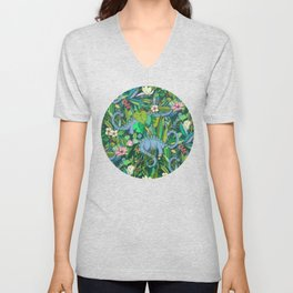 Improbable Botanical with Dinosaurs - dark green Unisex V-Neck