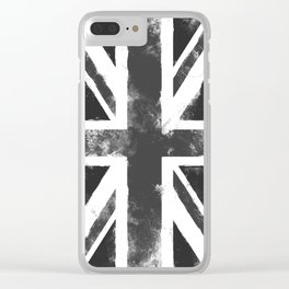 UK flag Grunge Black Clear iPhone Case