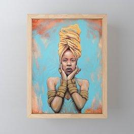 Erykah Badu Music Icon Portrait Painting RnB Tribute Art Framed Mini Art Print
