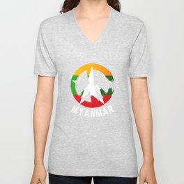 Myanmar Peace Sign Shirt Unisex V-Neck