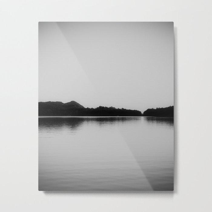 Herring Lake Black and White Metal Print