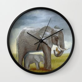 Isabella and the Elephants Wall Clock