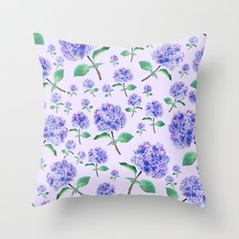 purple blue hydrangea in purple background Throw Pillow