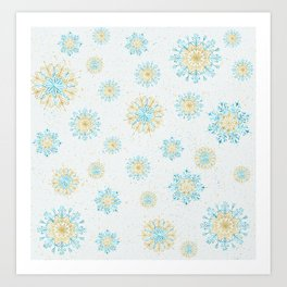 Festive Snowflakes White Art Print