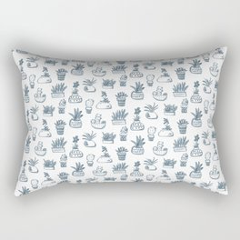 Blue Inky Cacti Rectangular Pillow