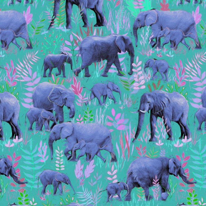 Sweet Elephants in Bright Teal, Pink and Purple Duvet Cover