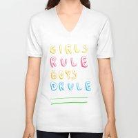 girl power V-neck T-shirts featuring Girl Power by Lovisa Valentino