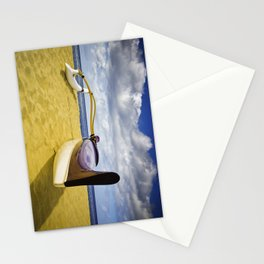 Outrigger canoe on beach Stationery Cards