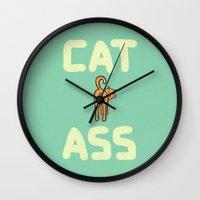 ass Wall Clocks featuring Cat Ass by Phil Jones