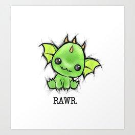 Baby Dragon Kawaii Art Print