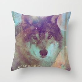 Spirit of the Wolf - Shamanic Power Animal Throw Pillow