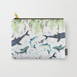 floral shark pattern Carry-All Pouch