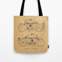 Motorcycle Diagram Tote Bag
