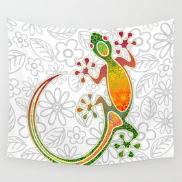 Gecko Floral Tribal Art Wall Tapestry