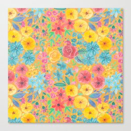 Floral watercolor pattern in yellow Canvas Print