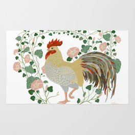 Rooster and morning glory Rug