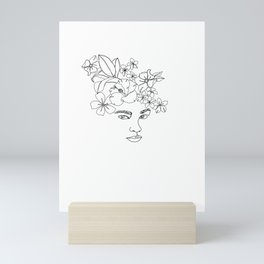 Face with floral crown - Selena Mini Art Print