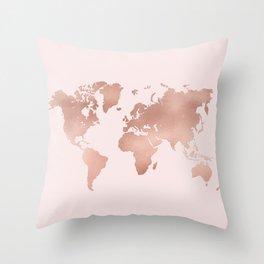 Rose Gold World Map Throw Pillow