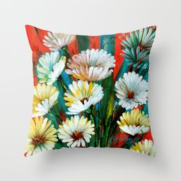 New Wave Flowers Throw Pillow