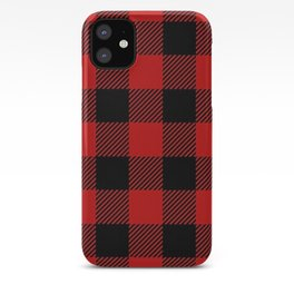 Western Country Woodland Christmas Cottage Primitive lumberjack Buffalo Plaid iPhone Case