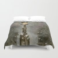 narnia Duvet Covers featuring Lamp Post in Blue by Jen Hallbrown