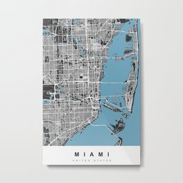 Miami Map | Black & Blue | More Colors, Review My Collections Metal Print