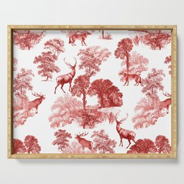 Classical Red Toile Forest Deer Fox Pattern Serving Tray