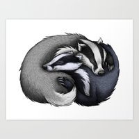 cuddle Art Prints featuring Badger Cuddle by Lyndsey Green Illustration