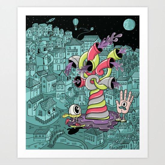 The city wakes up at night Art Print