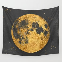 Gold Moon Wall Tapestry
