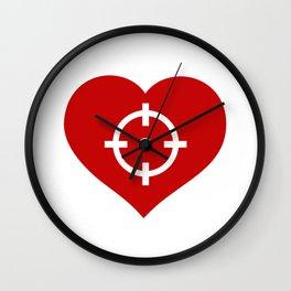Heart as target Wall Clock