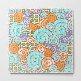 Crayon Bright Spiral Fun Print Turquoise Metal Print