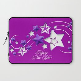 Fucshia and Purple Happy New Year Shooting Stars  Laptop Sleeve
