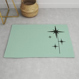 1950s Atomic Age Retro Starburst in Mint Green and Black 2 Rug