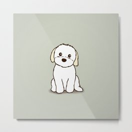 Shih Tzu and Maltese Mix Puppy Illustration Metal Print