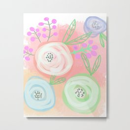 Peachy Blooms Metal Print