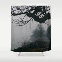 bridge Shower Curtains featuring Bridge by Alden Terry