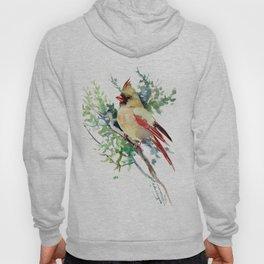 Cardinal Bird Artwork, female cardinal bird Hoody