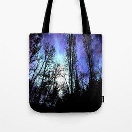 Black Trees Periwinkle Blue Lavender SPACE Tote Bag