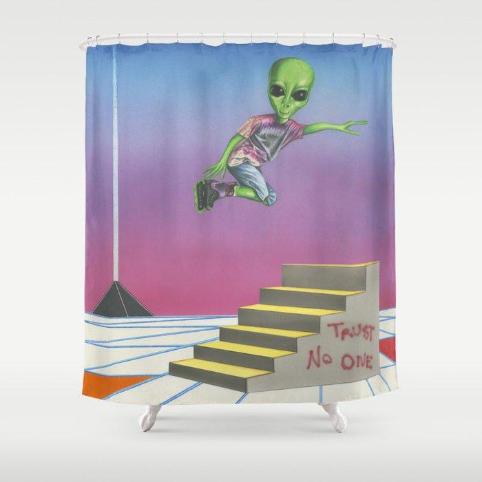 Rollerblading Alien Shower Curtain By Michelledevereux