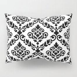 Prima Damask Pattern Black on White Pillow Sham
