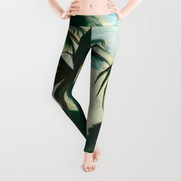 Tropical Scene with Palms and Flowers by Joseph Stella Leggings
