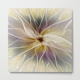 Floral Fantasy, Gold Aubergine Abstract Fractal Art Metal Print
