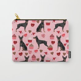 Miniature Doberman Pinscher valentines day cupcakes hearts pure breed dog gifts Carry-All Pouch