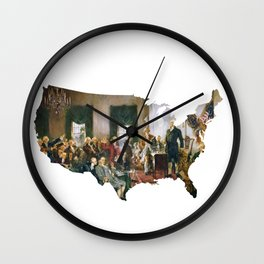 USA MAP The Signing of the Constitution of the United States Wall Clock