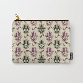 Hamsa Hand pattern - marble, amethyst and gold Carry-All Pouch